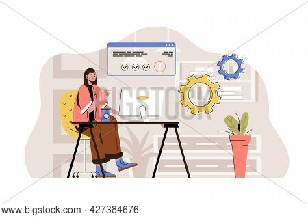 Coworking Center Concept. Woman Working At Computer In Open Office Situation. Coworker Or Freelancer
