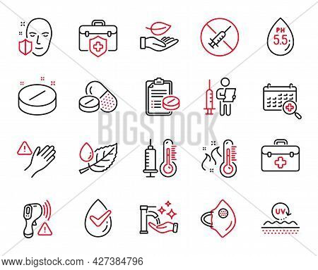 Vector Set Of Healthcare Icons Related To Medical Tablet, Washing Hands And Medical Insurance Icons.