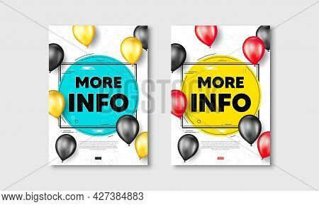 More Info Text. Flyer Posters With Realistic Balloons Cover. Navigation Sign. Read Description Symbo