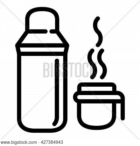 Hot Thermos Tea Bottle Icon. Outline Hot Thermos Tea Bottle Vector Icon For Web Design Isolated On W