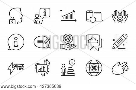 Science Icons Set. Included Icon As Chart, Message, Statistics Timer Signs. Unlock System, Employee