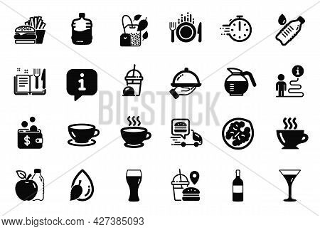 Vector Set Of Food And Drink Icons Related To Cooking Timer, Water Drop And Wine Bottle Icons. Marti