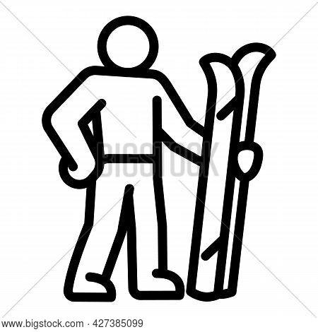 Ski Sportman Icon. Outline Ski Sportman Vector Icon For Web Design Isolated On White Background