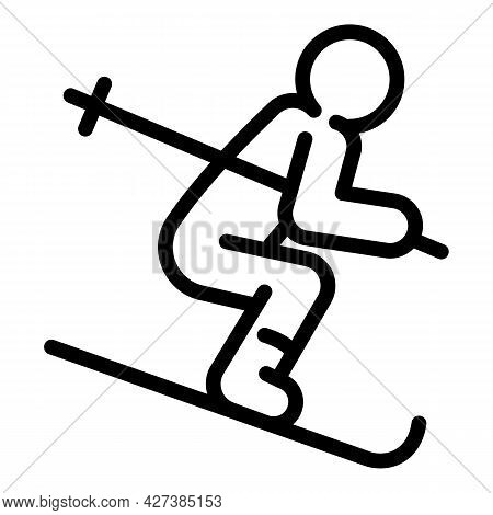 Skier Icon. Outline Skier Vector Icon For Web Design Isolated On White Background