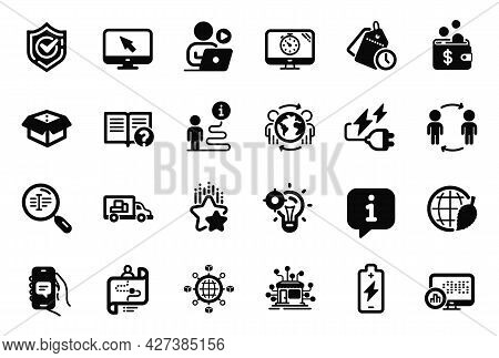 Vector Set Of Technology Icons Related To Battery Charging, Logistics Network And Internet Icons. Jo