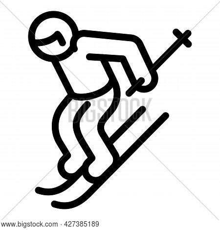 Professional Skier Icon. Outline Professional Skier Vector Icon For Web Design Isolated On White Bac