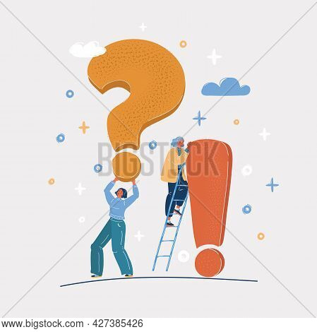 Vector Illustration Of Exclamation And Question Mark And Two Woman.