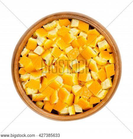Fresh Organic Orange Skin, Cut In Square Shaped Pieces, In A Wooden Bowl. Square Cut Skin Of Oranges