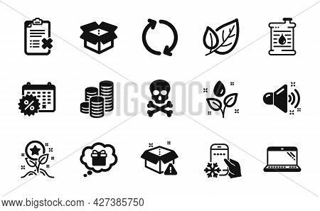 Vector Set Of Refresh, Loud Sound And Leaf Icons Simple Set. Coins, Open Box And Oil Barrel Icons. R