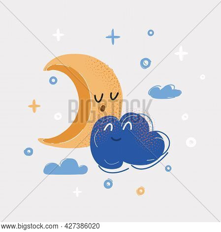 Vector Illustration Of Blue Clouds With Yellow Crescent Moon