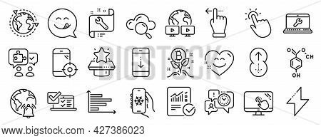 Set Of Technology Icons, Such As Seo Phone, Energy, Online Survey Icons. Video Conference, Smile Cha