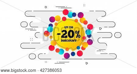 Sale 20 Percent Off Banner. Geometric Ad Banner On Flow Pattern. Discount Sticker Shape. Coupon Bubb