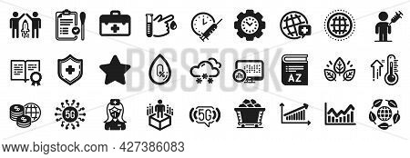 Set Of Science Icons, Such As 5g Wifi, Eco Organic, High Thermometer Icons. 5g Technology, Nasal Tes