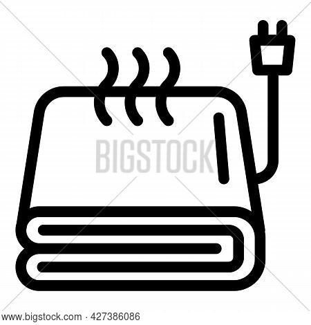 Warm Electric Blanket Icon. Outline Warm Electric Blanket Vector Icon For Web Design Isolated On Whi