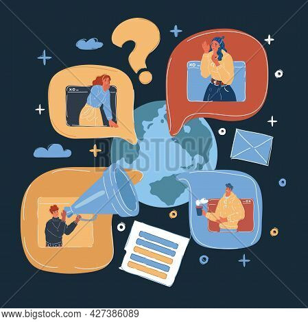 Vector Illustration Of World Wide Human Network