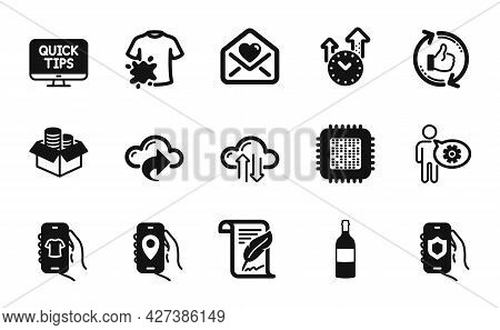 Vector Set Of Money Box, Wine Bottle And Time Management Icons Simple Set. Location App, Cloud Sync