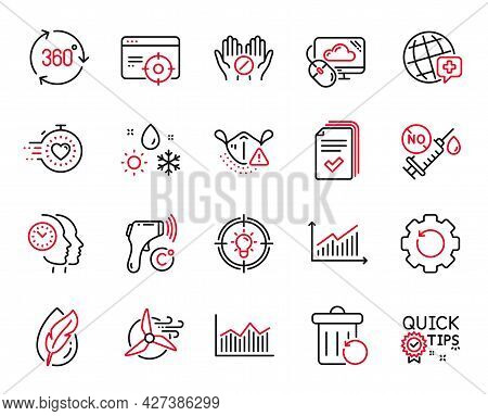 Vector Set Of Science Icons Related To Coronavirus Vaccine, Seo Targeting And Electronic Thermometer