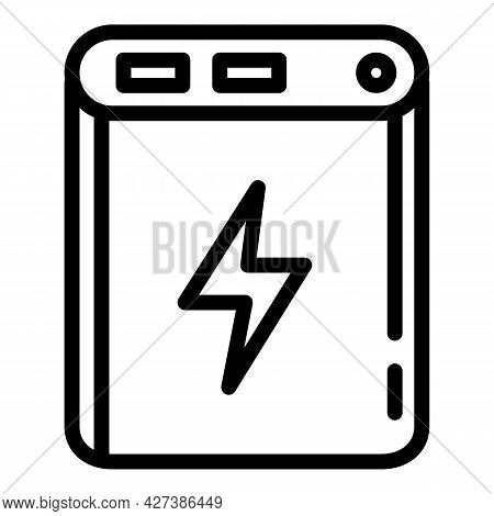 Quick Charge Power Bank Icon. Outline Quick Charge Power Bank Vector Icon For Web Design Isolated On