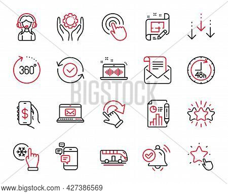 Vector Set Of Technology Icons Related To Scroll Down, Star And 360 Degrees Icons. Support, 48 Hours