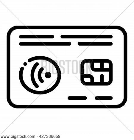 Nfc Credit Card Icon. Outline Nfc Credit Card Vector Icon For Web Design Isolated On White Backgroun