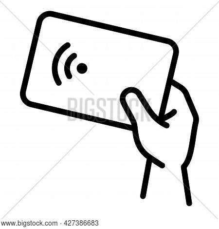 Nfc Card Icon. Outline Nfc Card Vector Icon For Web Design Isolated On White Background