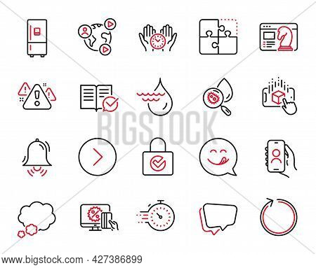 Vector Set Of Technology Icons Related To Loop, Online Shopping And Speech Bubble Icons. Clock Bell,