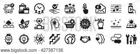 Set Of Business Icons, Such As Loan Percent, Phone Payment, Approved Icons. Stairs, Construction Bri