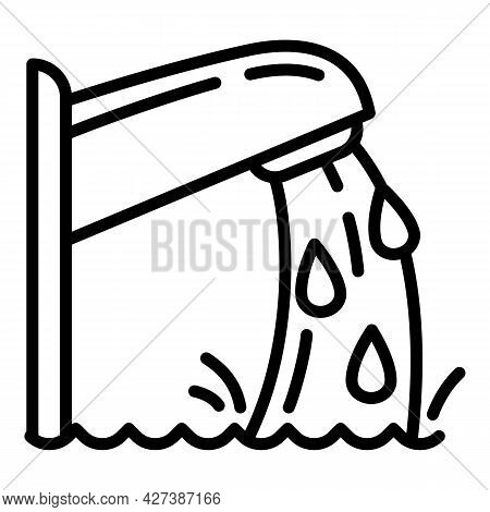 Pool Water Tap Icon. Outline Pool Water Tap Vector Icon For Web Design Isolated On White Background