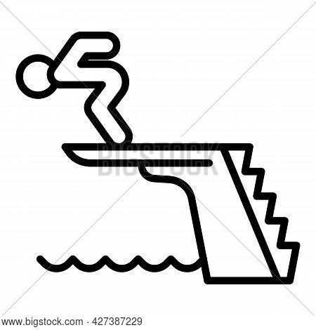 Man Jump In Pool Icon. Outline Man Jump In Pool Vector Icon For Web Design Isolated On White Backgro