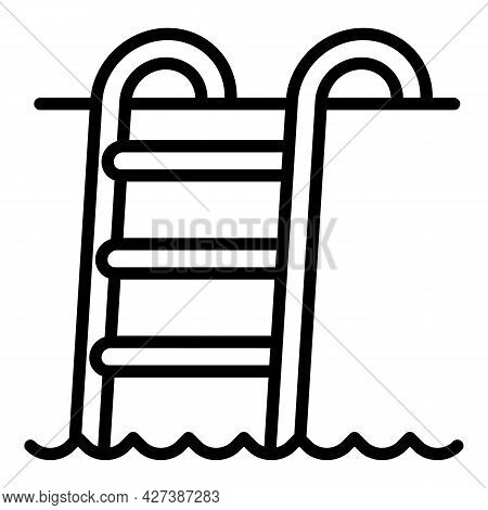 Steel Pool Ladder Icon. Outline Steel Pool Ladder Vector Icon For Web Design Isolated On White Backg