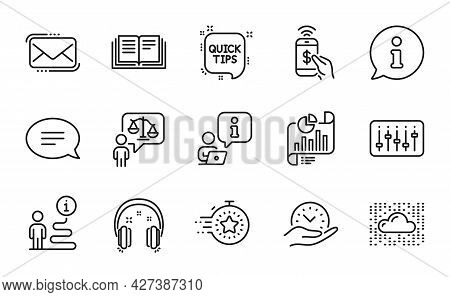 Education Icons Set. Included Icon As Timer, Phone Payment, Education Signs. Cloud System, Chat, Mes