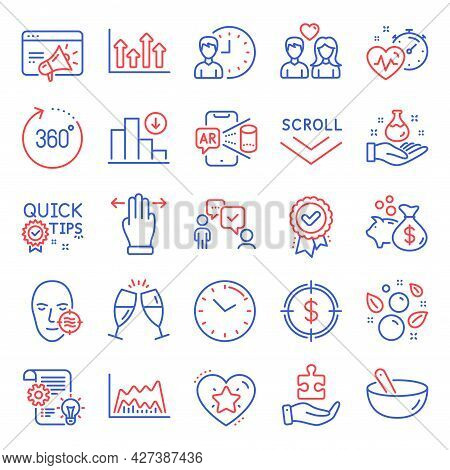Business Icons Set. Included Icon As Scroll Down, Couple Love, Ranking Star Signs. Multitasking Gest