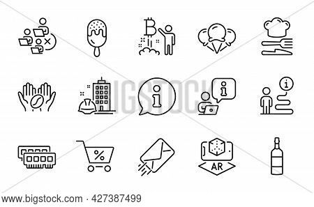 Business Icons Set. Included Icon As Food, E-mail, Augmented Reality Signs. Construction Building, R