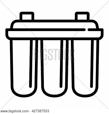 Triple Water Filter Icon. Outline Triple Water Filter Vector Icon For Web Design Isolated On White B
