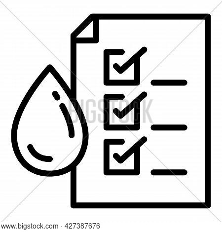 Approved Water Filter Icon. Outline Approved Water Filter Vector Icon For Web Design Isolated On Whi