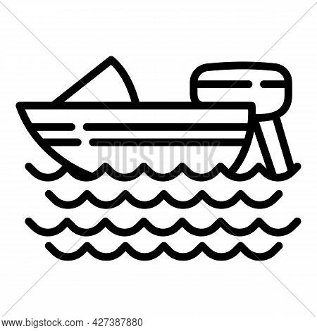 Snorkeling Motor Boat Icon. Outline Snorkeling Motor Boat Vector Icon For Web Design Isolated On Whi