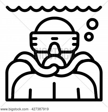 Man Make Snorkeling Icon. Outline Man Make Snorkeling Vector Icon For Web Design Isolated On White B