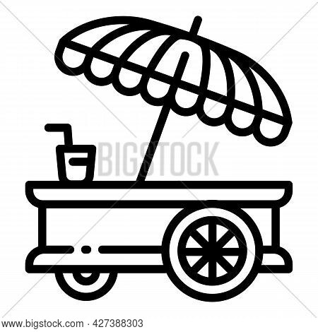 Food Cart Umbrella Icon. Outline Food Cart Umbrella Vector Icon For Web Design Isolated On White Bac