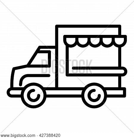 Canopy Food Truck Icon. Outline Canopy Food Truck Vector Icon For Web Design Isolated On White Backg