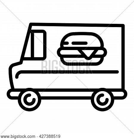 Burger Street Food Truck Icon. Outline Burger Street Food Truck Vector Icon For Web Design Isolated