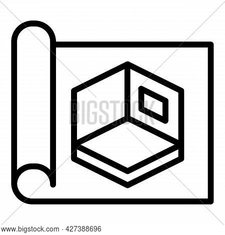 Architect Room Project Icon. Outline Architect Room Project Vector Icon For Web Design Isolated On W