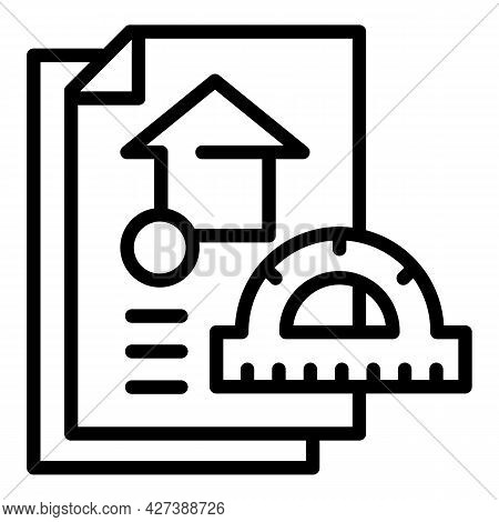 Architect Protractor House Project Icon. Outline Architect Protractor House Project Vector Icon For