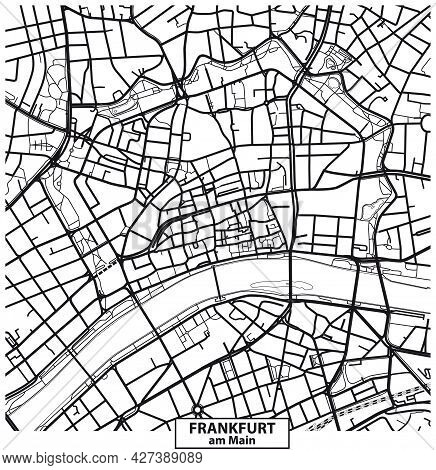 Vector Road Map Black And White Of Downtown Frankfurt Am Main, Germany
