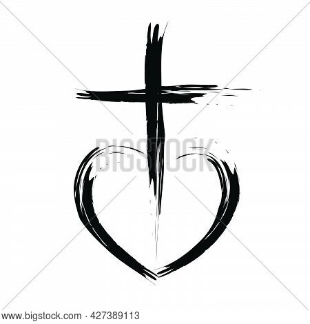 Christianity Symbol Of Jesus Christ, Natural Brush Strokes With Rough Edges, Silhouette Outline Of C