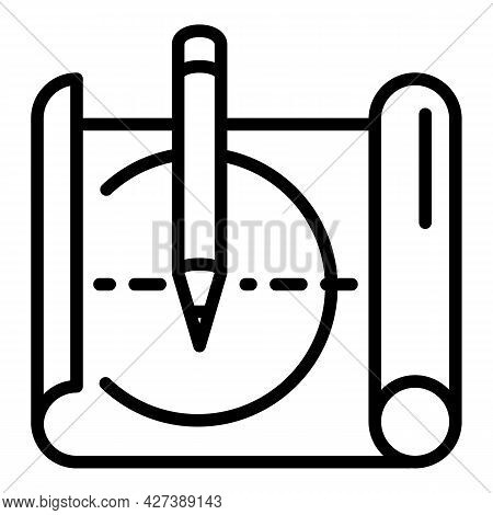 Architect Sketch Icon. Outline Architect Sketch Vector Icon For Web Design Isolated On White Backgro