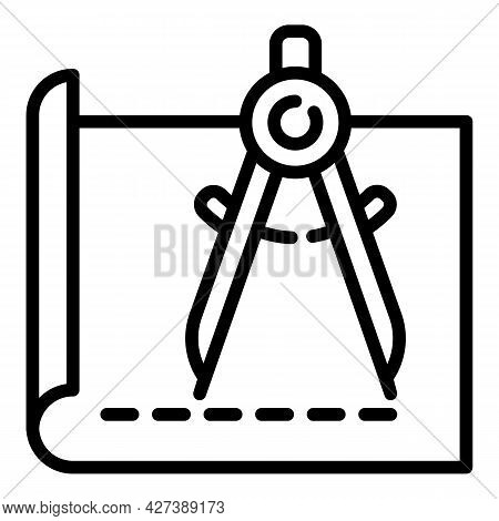 Architect Metal Compass Icon. Outline Architect Metal Compass Vector Icon For Web Design Isolated On
