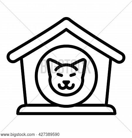 Dog Puppy House Icon. Outline Dog Puppy House Vector Icon For Web Design Isolated On White Backgroun