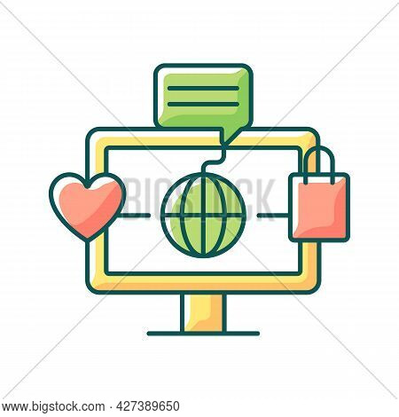 Online World Rgb Color Icon. Digital Shopping Experience. Telecommuting. Sharing Ideas And Thoughts