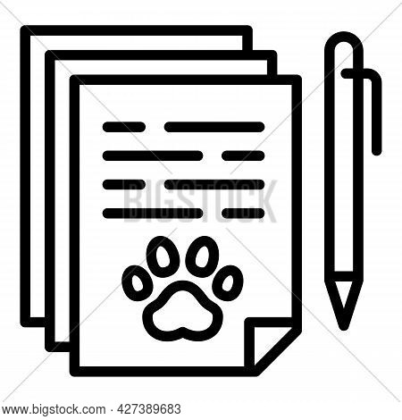 Pet Hotel Document Icon. Outline Pet Hotel Document Vector Icon For Web Design Isolated On White Bac