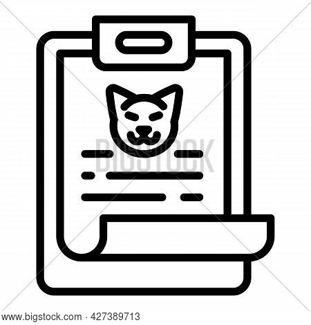 Pet Clipboard Icon. Outline Pet Clipboard Vector Icon For Web Design Isolated On White Background